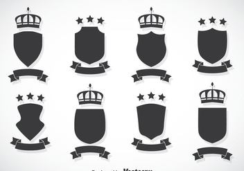 Shield And Crown Vector Set - Kostenloses vector #384367