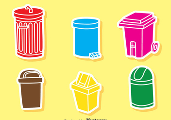 Colorful Garbage Icons Vector - Free vector #386037
