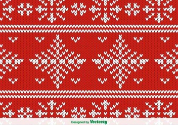 Red Knitted Vector Pattern For Christmas - Free vector #386197