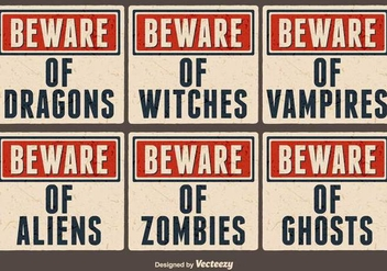 Vector Old Paper Signs For Halloween - vector #386207 gratis