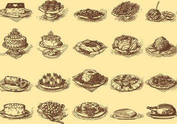 Vintage Delicious Dishes - vector gratuit #386367