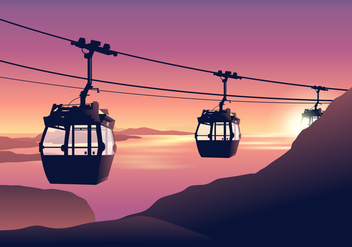 Cable Car at Sunset Vector - Free vector #386507