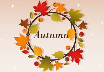 Free Autumn Vector Wreath Illustration - Free vector #386637