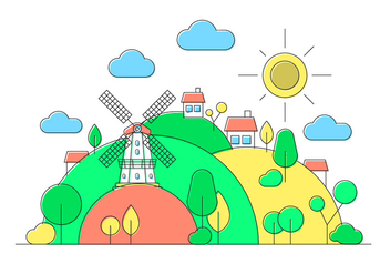 Windmill Hill Vector Illustration - vector gratuit(e) #387427