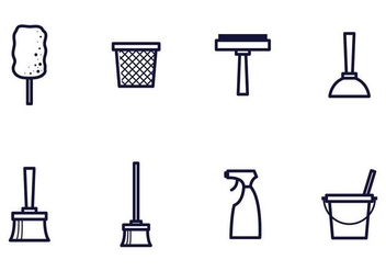 Linear Cleaning Icon Vectors - Free vector #387457