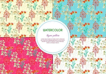 Painted Flower Pattern Pack - vector #387597 gratis
