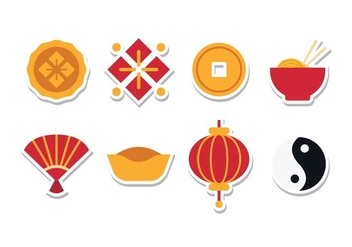 Free Chinese Sticker Icon Set - vector gratuit(e) #387627