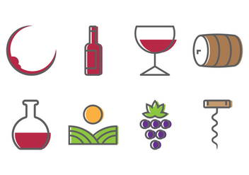 Wine Icons - vector #388037 gratis