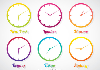 Time Zone In Gradient Clock Vector Set - Free vector #388147