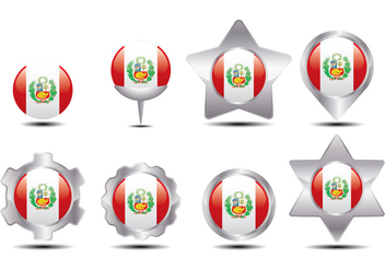 Peru Flag Marker - Free vector #388477