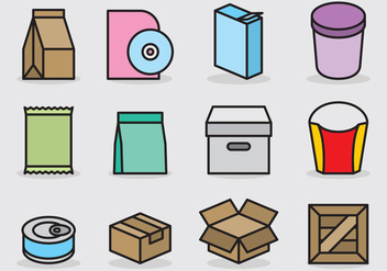 Cute Packaging Icons - vector #388767 gratis