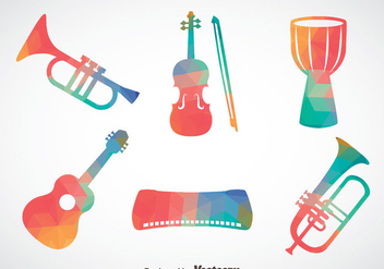 Abstract Colorful Music Instrument Vector - vector gratuit #388797