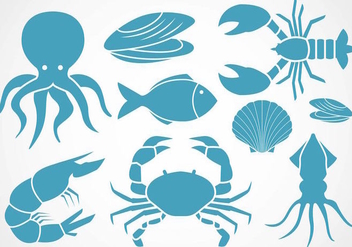 Free Seafood Icons Vector - Free vector #388977