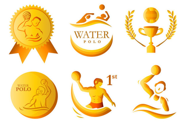 Water polo golden medal vector pack - vector gratuit #389067