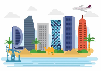 Free Welcome to Qatar Landscape Vector - Kostenloses vector #389077