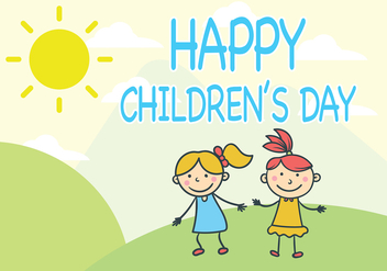 Girls Children's Day Vector - бесплатный vector #389107