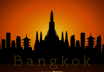 Vector Bangkok Skyline Silhouette - vector gratuit #389137