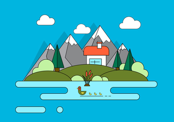 Mountain Home Vector Illustration - Free vector #389327