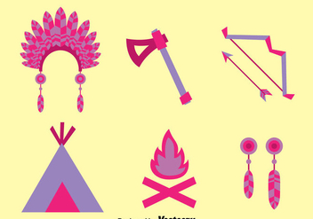 Flat Purple Indian Element Vector Set - Kostenloses vector #389577