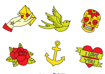 Old School Tattoo Collection Vector - Free vector #389647