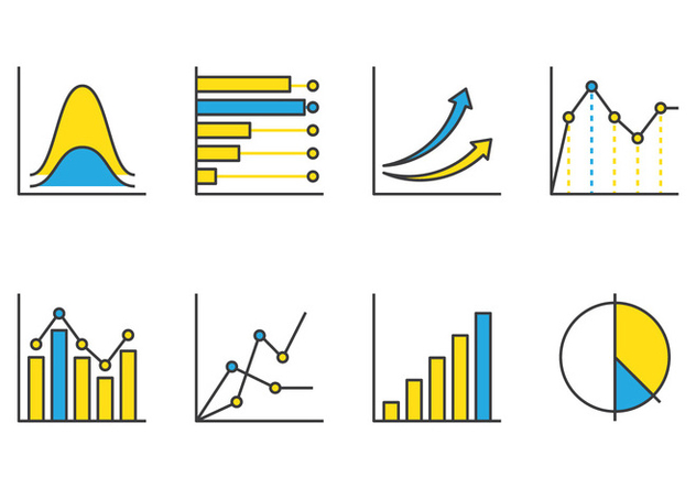 Bell Curve Line Icons - vector #389917 gratis