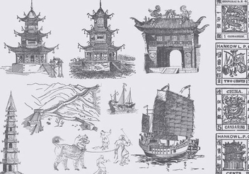 Chinese Culture Drawings - бесплатный vector #390417