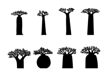 Baobab Silhouette Vector - Free vector #390807