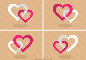 Free Flat Combined Hearts Vector - Free vector #391327