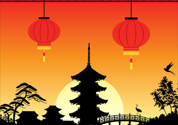 Free China Town Vector Illustration - бесплатный vector #391387
