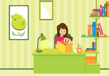Mom And Child Study Vector Art - Free vector #391457