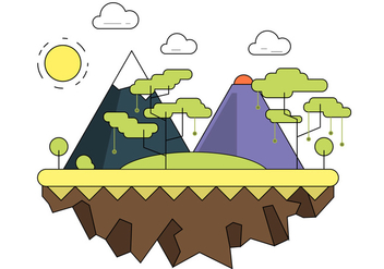 Forested Mountain Vector Landscape - бесплатный vector #391757