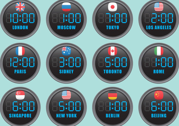 Digital International Clocks - Free vector #391897