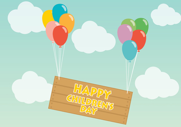 Balloons Happy Children Day Vector - Kostenloses vector #391917