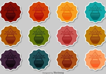 Kalash Vector Badges Set - Free vector #392587