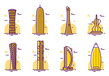 Qatar Skyscrapers Vector - бесплатный vector #392967