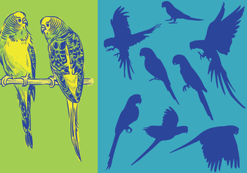 Silhouettes Parrots - Free vector #393037