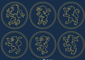 Lion Rampnt Symbol Vector - vector #393317 gratis