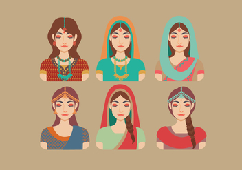 Indian Women Vector - Kostenloses vector #393687