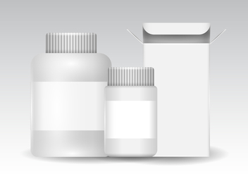 Free Plastic and Box Packaging for Pill, Cosmetic, and Vitamins Vector - vector #393707 gratis