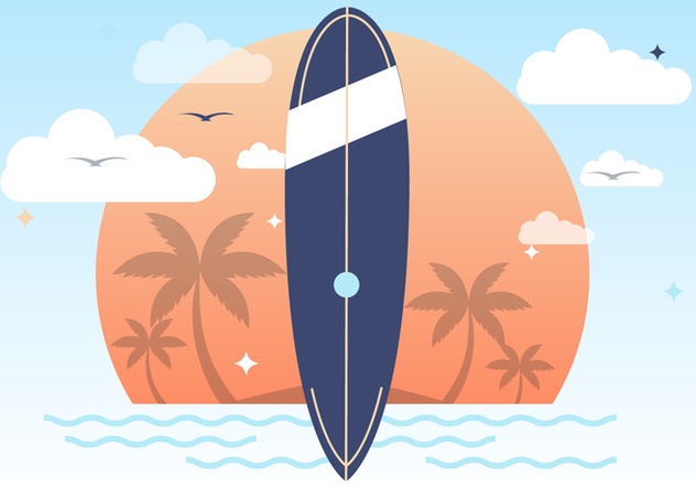 Sunset Summer Surfing Vector Background - Free vector #393747