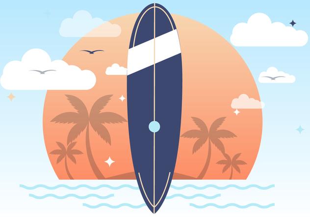 Sunset Summer Surfing Vector Background - vector gratuit(e) #393747
