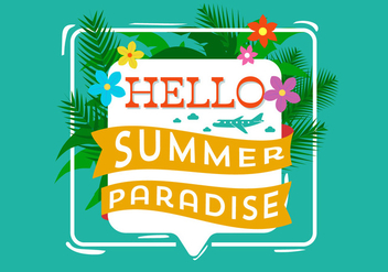 Hello Summer Typography - vector gratuit #393867