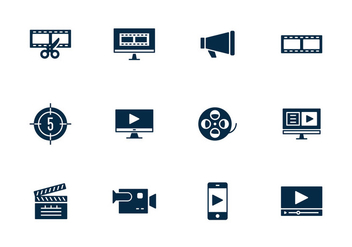 Simple Video Editing Icon - vector gratuit(e) #393877