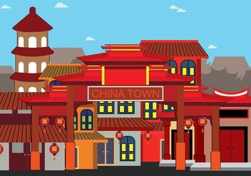 Free China Town Illustration - vector gratuit #394107