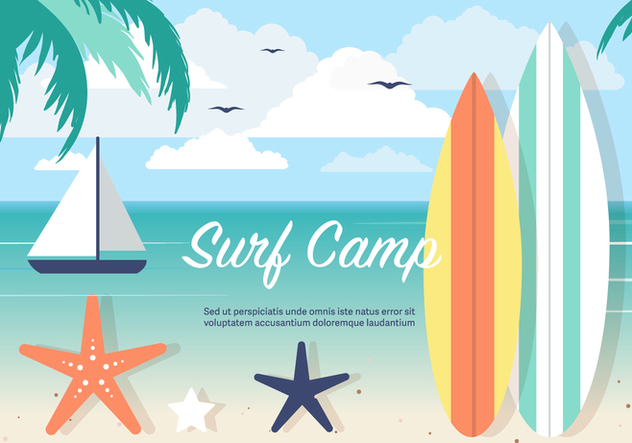Free Surf Camp Vector Background - Free vector #394367