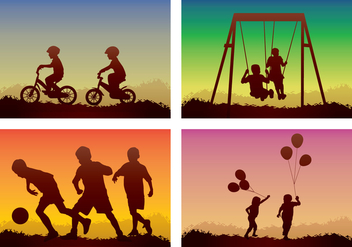 Children Playing Silhouette - vector gratuit #394397