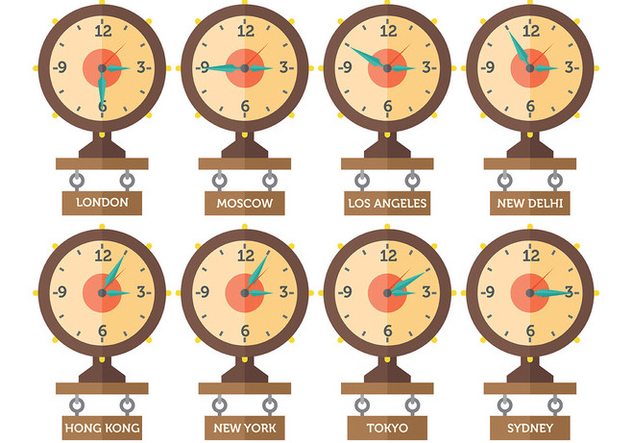 Free Time Zone Icons Vector - Free vector #394427