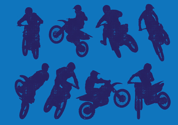 Dirt Bikes Silhouette - Free vector #394437