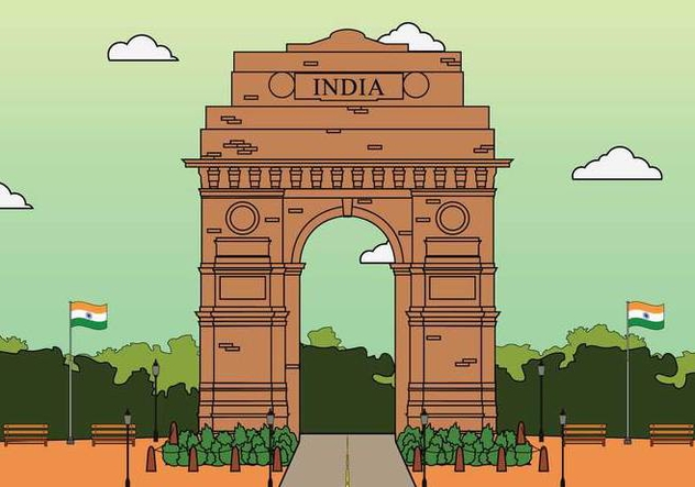 Free India Gate Illustration - Free vector #394597