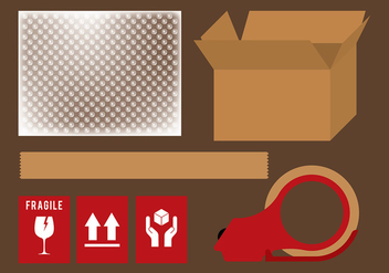 Bubble Wrap Shipping Set Vector - Free vector #394647